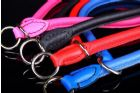 Leather Choke Collar with Adjustable Lead - Blue & Pink